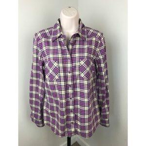 Boden Plaid Button Down Shirt Purple Yellow